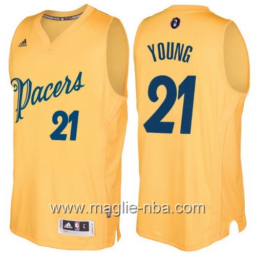 Maglia nba 2016 2017 Natale Indiana Pacers Thaddeus Young #21 giallo