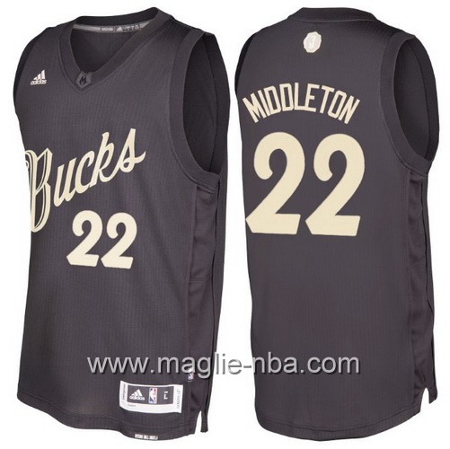 Maglia nba 2016 2017 Natale Milwaukee Bucks Khris Middleton #22 nera