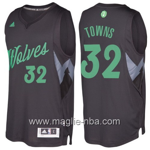 Maglia nba 2016 2017 Natale Minnesota Timberwolves Karl-Anthony Towns #32 nera