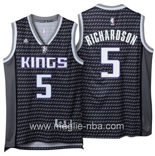 Maglia nba 2016 2017 Malachi Richardson #5 Sacramento Kings nero