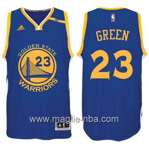 Maglia nba 2017 Golden State Warriors 42 Patch Draymond Green #23 blu