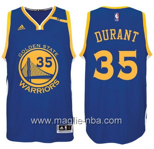 Maglia nba 2017 Golden State Warriors 42 Patch Kevin Durant #35 blu
