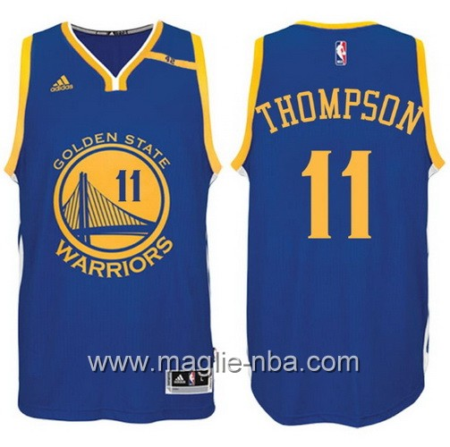 Maglia nba 2017 Golden State Warriors 42 Patch Klay Thompson #11 blu