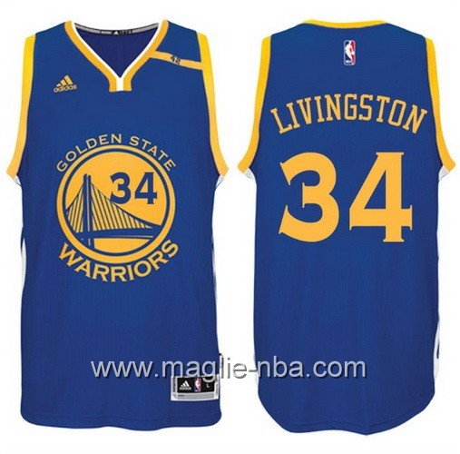 Maglia nba 2017 Golden State Warriors 42 Patch Shaun Livingston #34 blu