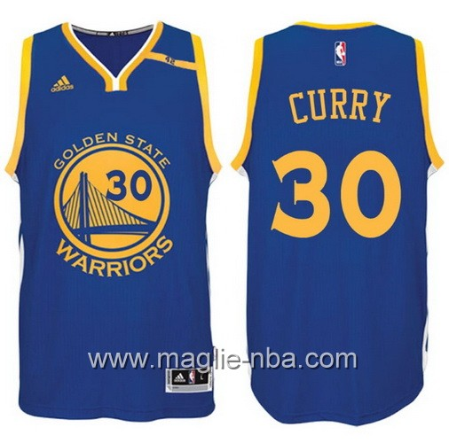 Maglia nba 2017 Golden State Warriors 42 Patch Stephen Curry #30 blu