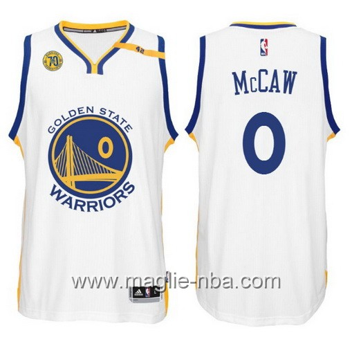 Maglia nba 2017 Golden State Warriors 70 ° Anniversario 42 Patch Patrick McCaw #0 bianco