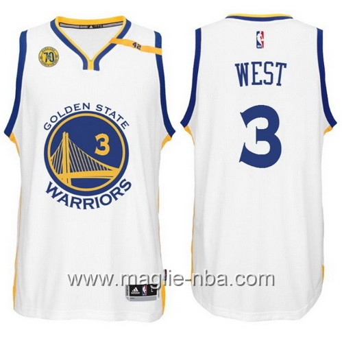 Maglia nba 2017 Golden State Warriors 70 ° Anniversario 42 Patch David West #3 bianco