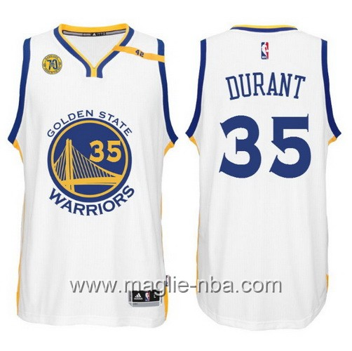 Maglia nba 2017 Golden State Warriors 70 ° Anniversario 42 Patch Kevin Durant #35 bianco