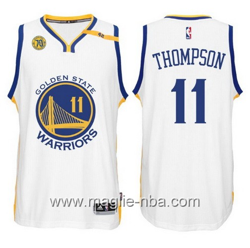 Maglia nba 2017 Golden State Warriors 70 ° Anniversario 42 Patch Klay Thompson #11 bianco
