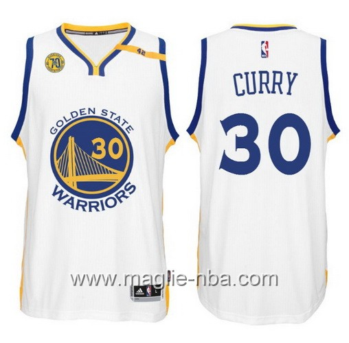 Maglia nba 2017 Golden State Warriors 70 ° Anniversario 42 Patch Stephen Curry #30 bianco