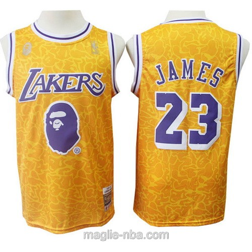 Maglia nba APE x M&N Los Angeles Lakers #23 LeBron James giallo