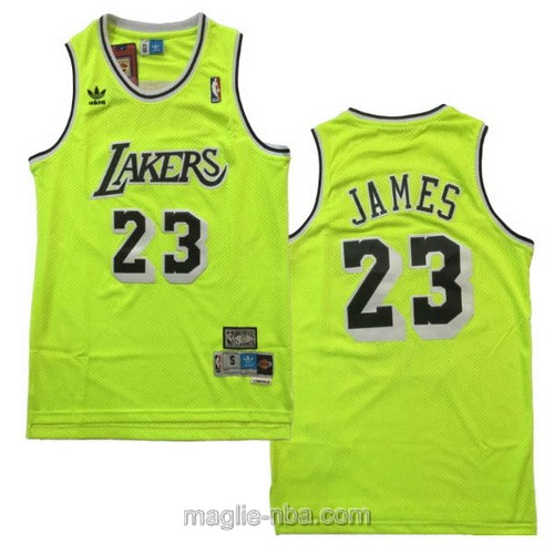 Maglia nba Adidas Los Angeles Lakers #23 LeBron James verde fluorescente