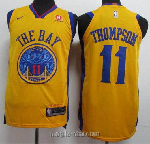 Maglia nba City Edition Golden State Warriors #11 Klay Thompson 2018 giallo