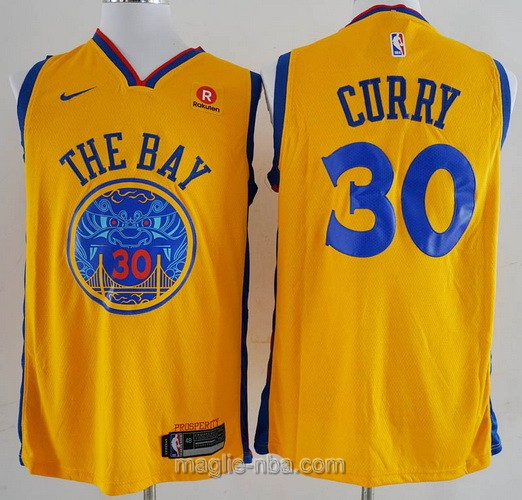 Maglia nba City Edition Golden State Warriors #30 Stephen Curry 2018 giallo