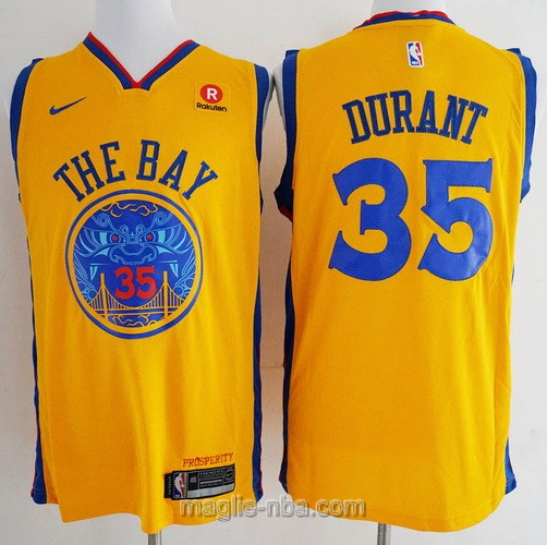 Maglia nba City Edition Golden State Warriors #35 Kevin Durant 2018 giallo