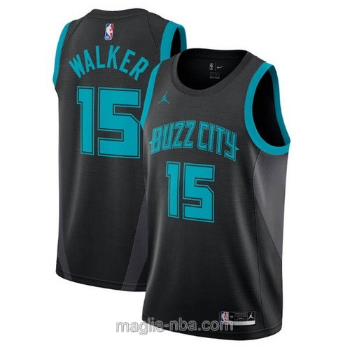 Maglia nba City Edition Jordan Charlotte Hornets #15 Kemba Walker 2019 nero