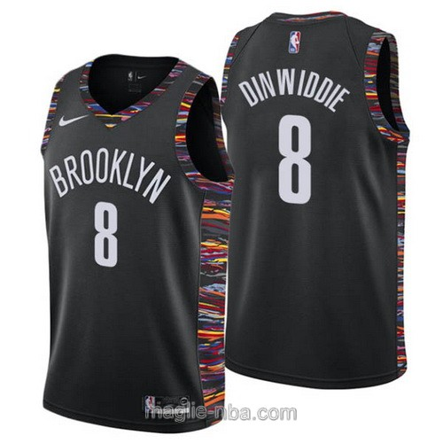 Maglia nba City Edition Nike Brooklyn Nets #8 Spencer Dinwiddie 2019 nero