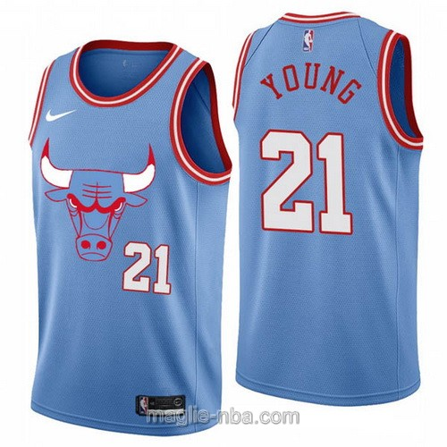 Maglia nba City Edition Nike Chicago Bulls #21 Thaddeus Young 2020 blu