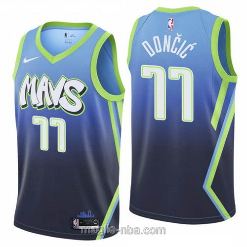 Maglia nba City Edition Nike Dallas Mavericks #77 Luka Doncic 2019-20 blu