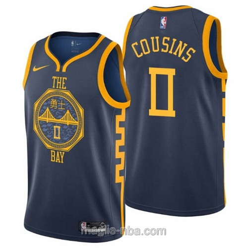 Maglia nba City Edition Nike Golden State Warriors #0 DeMarcus Cousins 2019 blu scuro