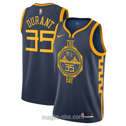 Maglia nba City Edition Nike Golden State Warriors #35 Kevin Durant 2019 blu scuro