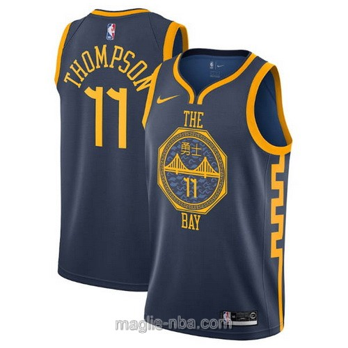 Maglia nba City Edition Nike Golden State Warriors #11 Klay Thompson 2019 blu scuro