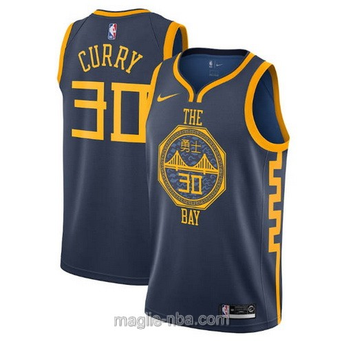 Maglia nba City Edition Nike Golden State Warriors #30 Stephen Curry 2019 blu scuro