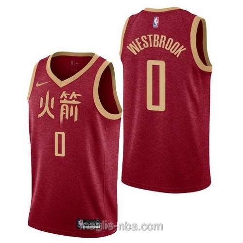 Maglia nba City Edition Nike Houston Rockets #0 Russell Westbrook 2019 rosso