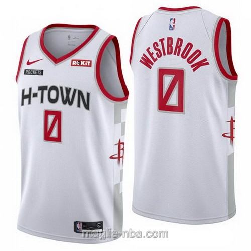 Maglia nba City Edition Nike Houston Rockets #0 Russell Westbrook 2019-20 bianco