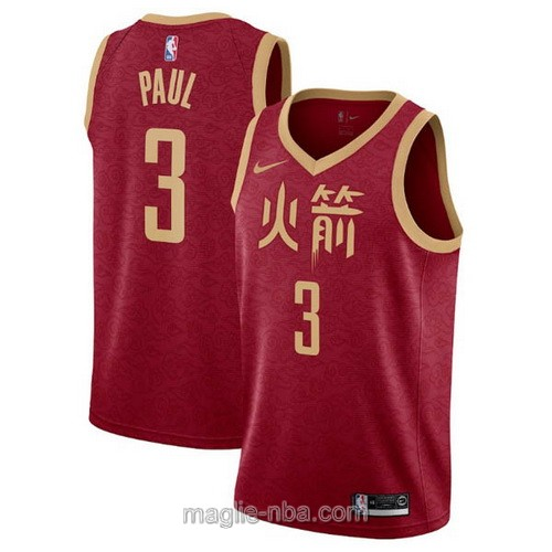 Maglia nba City Edition Nike Houston Rockets #3 Chris Paul 2019 rosso