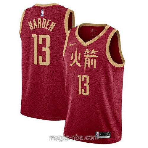 Maglia nba City Edition Nike Houston Rockets #13 James Harden 2019 rosso