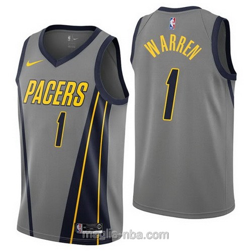 Maglia nba City Edition Nike Indiana Pacers #1 T.J. Warren 2019 grigio