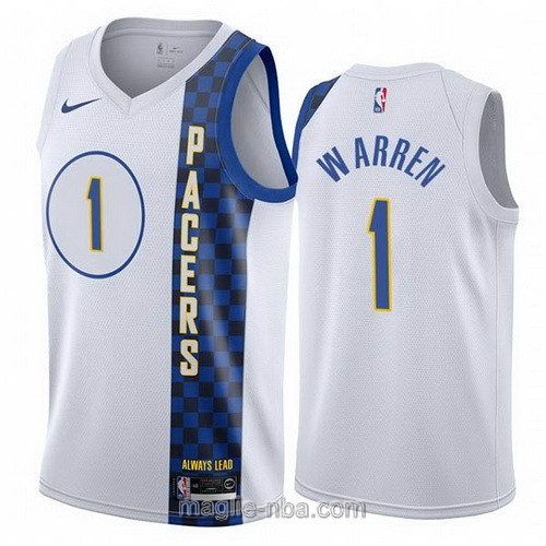 Maglia nba City Edition Nike Indiana Pacers #1 T.J. Warren 2019-20 bianco