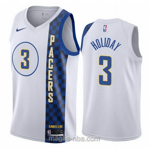 Maglia nba City Edition Nike Indiana Pacers #3 Aaron Holiday 2019-20 bianco