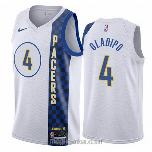 Maglia nba City Edition Nike Indiana Pacers #4 Victor Oladipo 2019-20 bianco