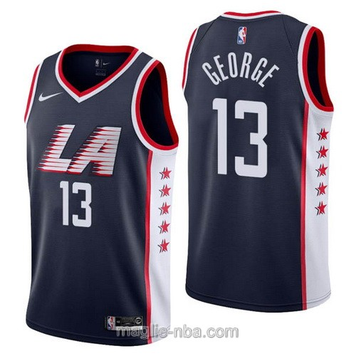 Maglia nba City Edition Nike Los Angeles Clippers #13 Paul George 2019 blu scuro