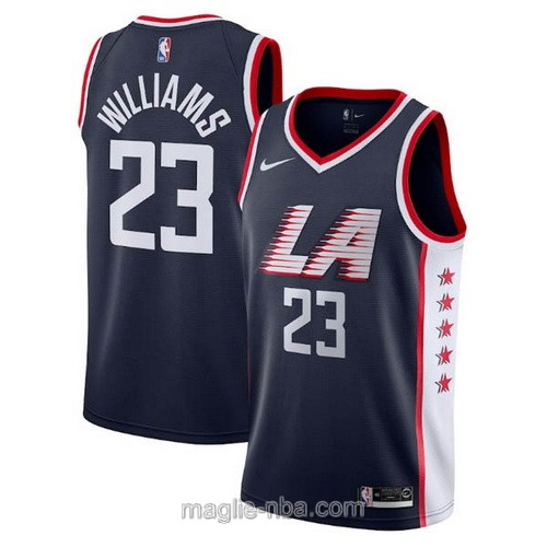 Maglia nba City Edition Nike Los Angeles Clippers #23 Lou Williams 2019 blu scuro