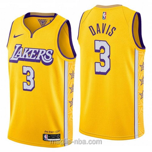Maglia nba City Edition Nike Los Angeles Lakers #3 Anthony Davis 2019-20 giallo