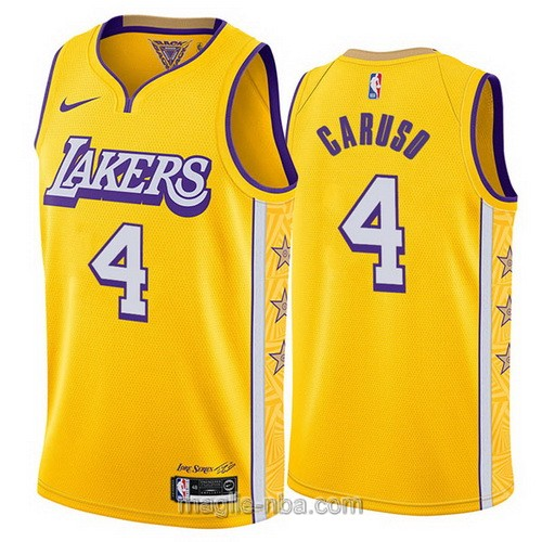 Maglia nba City Edition Nike Los Angeles Lakers #4 Alex Caruso 2019-20 giallo