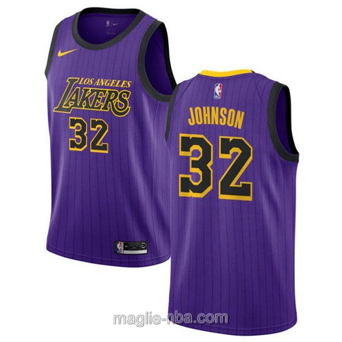 Maglia nba City Edition Nike Los Angeles Lakers #32 Magic Johnson 2019 porpora