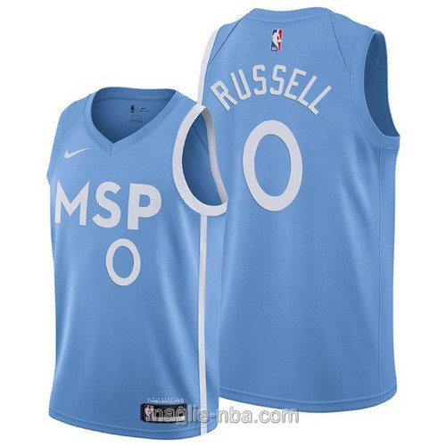 Maglia nba City Edition Nike Minnesota Timberwolves #0 D'Angelo Russell 2019-20 blu