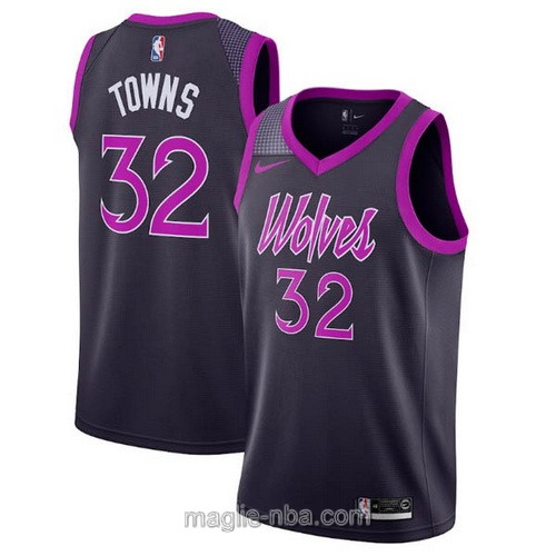 Maglia nba City Edition Nike Minnesota Timberwolves #32 Karl-Anthony Towns 2019 nero