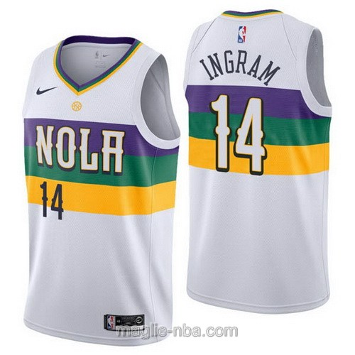Maglia nba City Edition Nike New Orleans Pelicans #14 Brandon Ingram 2019 bianco