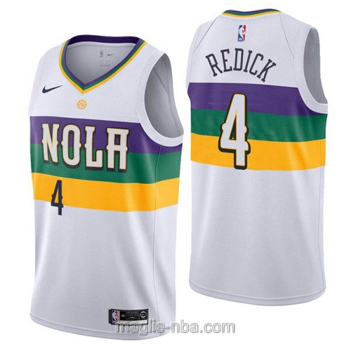 Maglia nba City Edition Nike New Orleans Pelicans #4 J.J. Redick 2019 bianco