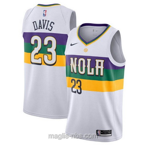 Maglia nba City Edition Nike New Orleans Pelicans #23 Anthony Davis 2019 bianco