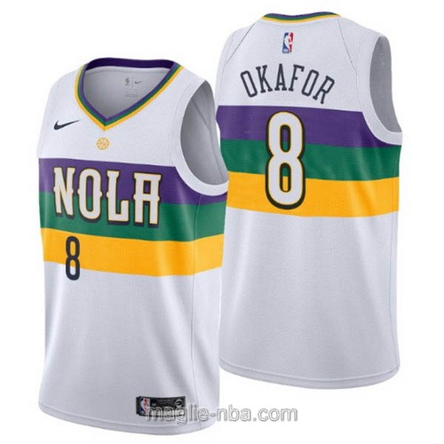 Maglia nba City Edition Nike New Orleans Pelicans #8 Jahlil Okafor 2019 bianco