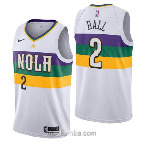 Maglia nba City Edition Nike New Orleans Pelicans #2 Lonzo Ball 2019 bianco