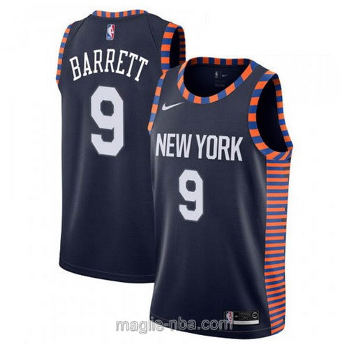 Maglia nba City Edition Nike New York Knicks #9 R.J. Barrett 2019 blu scuro