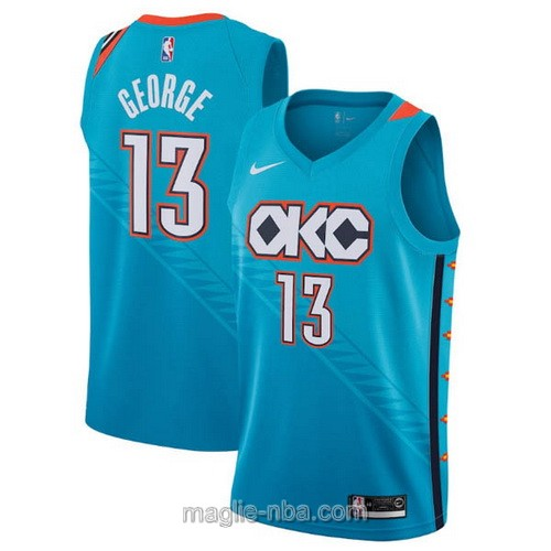 Maglia nba City Edition Nike Oklahoma City Thunder #13 Paul George 2019 blu