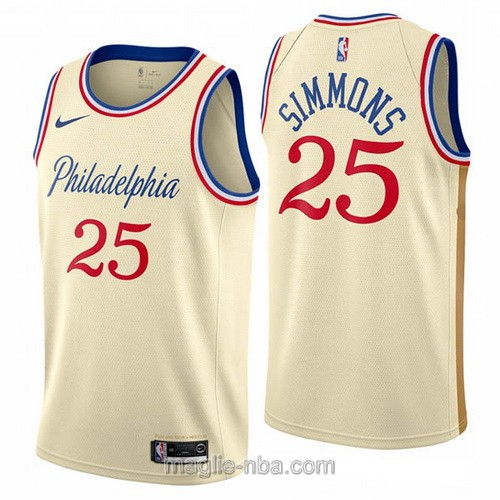 Maglia nba City Edition Nike Philadelphia 76ers #25 Ben Simmons 2019-20 color crema